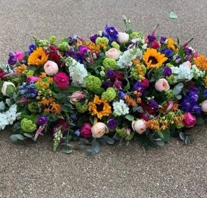 bright seasonal casket for funeral