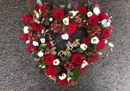 open flower heart for funeral by the dancing daffodil